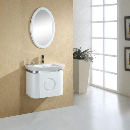 MUAGP-005 29.5 inch  Bathroom Vanity  White Ceramic Basin and Countertop  Matching Oval Mirror  Single Door Cabinet with Soft Close Hinges  in White