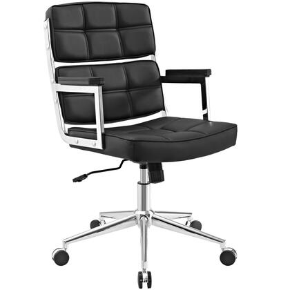 Portray Collection EEI-2685-BLK Office Chair with Adjustable Height  Swivel Seat  Five Dual-Wheel Nylon Casters  Chrome Aluminum Frame and Vinyl Upholstery in