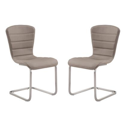 LCCASICF Cameo Modern Side Chair In Coffee and Stainless Steel - Set of