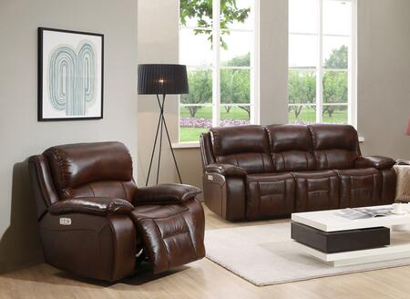 Wesminster II Collection Top Grain Leather Power Reclining Sofa and Recliner Set with Power Headrest in Brown
