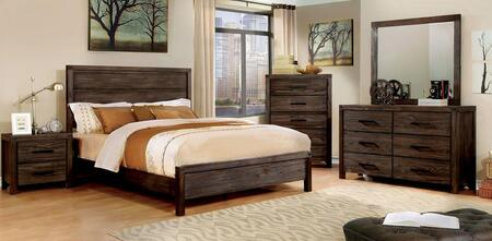 Rexburg Collection CM7382TBEDSET 5 PC Bedroom Set with Twin Size Panel Bed + Dresser + Mirror + Chest + Nightstand in Dark Grey Wire-Brushed