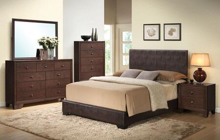 Ireland III Collection 14370QDMCN 5 PC Bedroom Set with Queen Size Bed + Dresser + Mirror + Chest + Nightstand in Brown