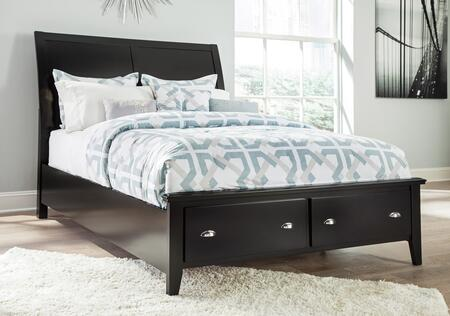 Braflin B591-56S-58-97S King Size Storage Panel Bed with Sleigh Headboard  Storage Rails and Footboard with Underbed Drawers in Black