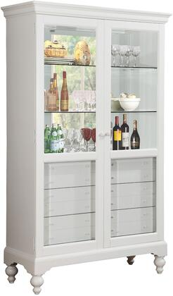 Dallin Collection 90107 47 inch  Curio Cabinet with 2 Glass Doors  6mm Tempered Clear Glass Shelves  6 Felt Lined Drawers and Touch Light Included in White