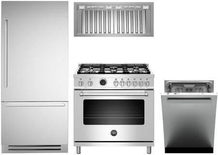 4-Piece Stainless Steel Kitchen Package with REF36PIXR 36 inch  Bottom Freezer Refrigerator  MAS365DFSXT 36 inch  Dual Fuel Range  KIN36PROX 36 inch  Wall Mount Convertible