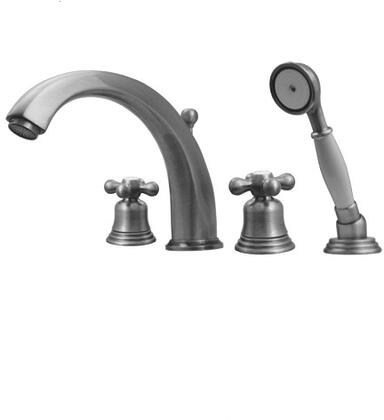 514463TFC Blairhaus McKinley deck mount tub filler set with smooth lined arcing spout  bell-shaped cross handles  beveled escutcheons  hand held shower with