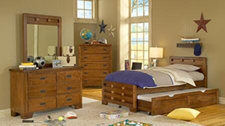 Heartland 1800-33CPBTRNMRDRCDNS 5-Piece Bedroom Sets with Twin Trundle Bed  Mirror  Dresser  Chest of Drawers and Nightstand in Spice