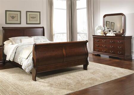 Carriage Court Collection 709-BR-KSLDM 3-Piece Bedroom Set with King Sleigh Bed  Dresser and Mirror in Mahogany Stain