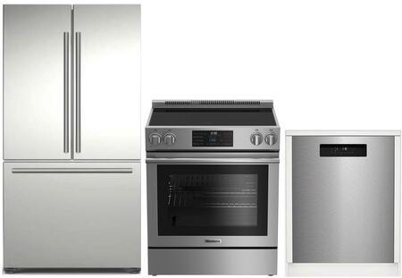 3-Piece Kitchen Package with BRFD2230SS 36 inch  French Door Refrigerator  BERU30420SS 30 inch  Freestanding Electric Range  and DWT25502SS 24 inch  Built In Full Console