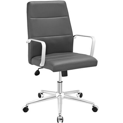 Stride Collection EEI-2121-GRY Office Chair with Adjustable Height  Swivel Seat  Polished Aluminum Base  Five Dual-Wheel Nylon Casters  Chrome Steel Frame and