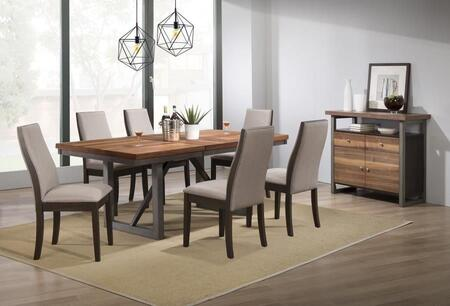 Spring Creek Collection 106581-83-S8 8-Piece Dining Room Set with Rectangular Dining Table  6 Side Chairs and Server in Natural Walnut and
