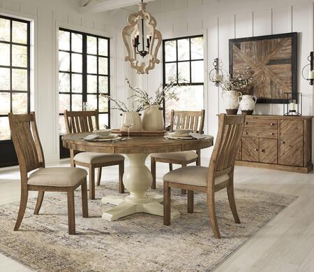 Grindleburg Collection D754-50T-50B-4SC05B 6-Piece Dining Room Set with Round Dining Table  4 Side Chairs and Buffet in Antique White and Light