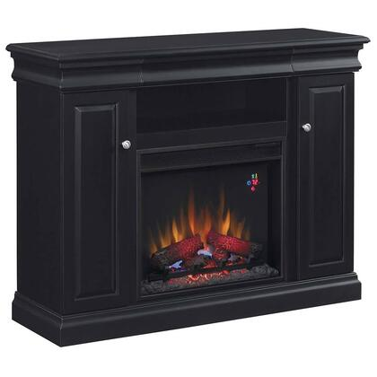 23MM9643-X334 Louie 23 inch  Media Cabinet Fireplace with 2 Door Side Storage  3-Way Adjustable Concealed Euro Hinges  Brass Door Pulls and Adjustable Wood Shelves