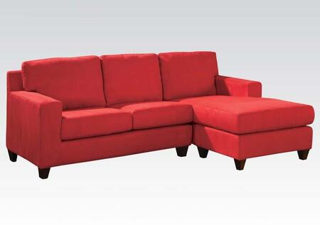 Vogue 05917A 86 inch  Reversible Chaise Sectional with Accent Pillows  Tapered Wood-Like Legs  Microfiber Upholstery  Loose Back and Seat Cushion in Red