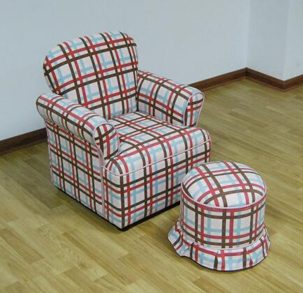 K3186+K3187-A354 Rolled Arm Chari With Round Ottoman/Plaid Plaid