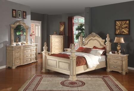 SIENNAPOSTQSET Sienna White Finished Queen Sized Poster Bed with Marble Posts + 2 Nightstands + Dresser +