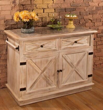 5731-892 Carter 51 Kitchen Island With 2 Drawers  2 Doors  Light Grey Marble Top And Weathered Sandy Beige Mangifera Indica