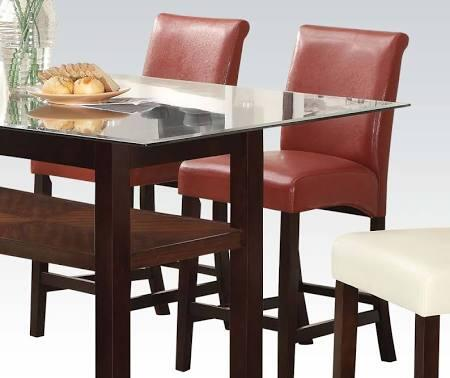 Ripley Collection 71373 Set of 2 26 inch  Counter Height Chair with Supported Stretchers  Espresso Legs and Bycast PU Leather Upholstery in Red