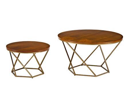 AF28CLRGWGD Geometric Wood Nesting Coffee Tables in