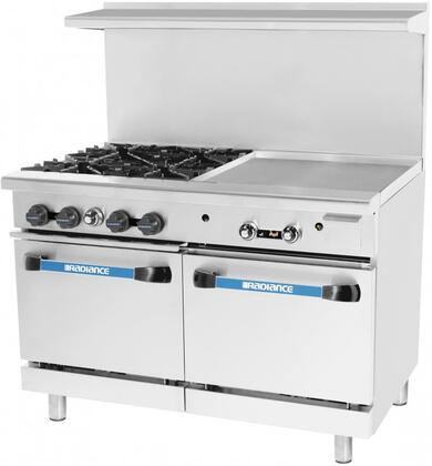 TARG-4B24G-LP 48 inch  Commercial Range with 4 Open Burners  each with 32000 BTU  2 Ovens with 26.3 inch  Depth Standard  Iron Grates  24 inch  Griddle  Back Riser High Shelf