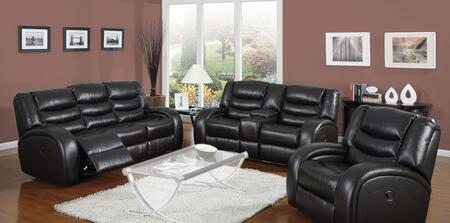 Dacey 50740SLR 3 PC Living Room Set with Sofa + Loveseat + Recliner in Black