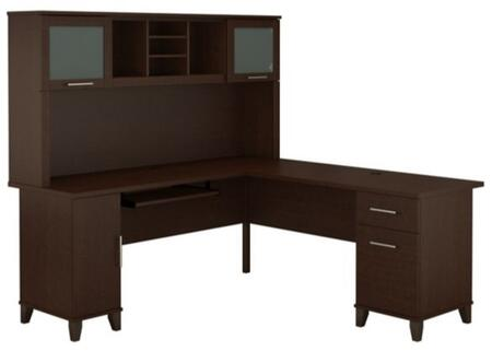 Somerset WC81810K-11 Desk and Hutch with Simple Pulls  Tapered Legs and Adjustable Shelves in Mocha