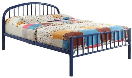 Cailyn Collection 30460TBU Twin Size Bunk Bed with Slat System Included  Curved Headboard  Low Profile Rectangular Footboard and Metal Tube Material in Blue