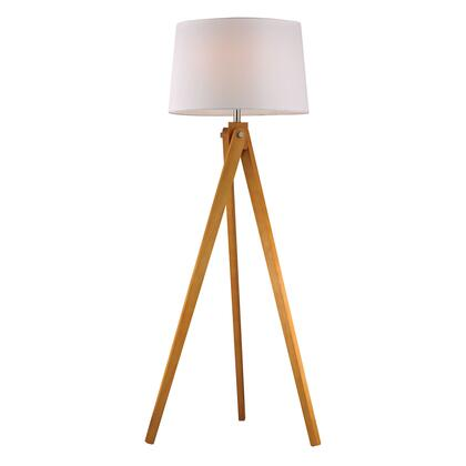 D2469 Wooden Tripod Floor Lamp in Natural Wood