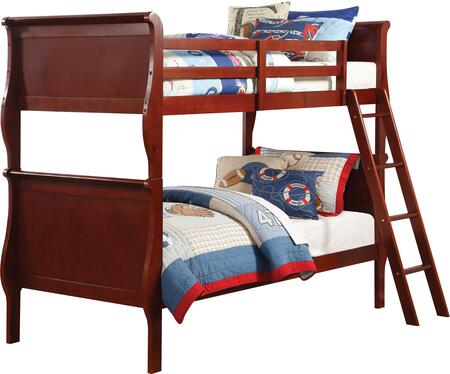 Louis Philippe Collection 37615 Twin Over Twin Bunk Bed with Slat System Included  Removable Front Ladder  Easy Access Guardrail and Engineered Wood