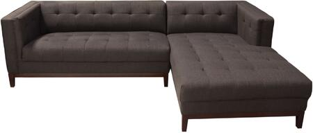 "Manhattan Collection MANHATTANRFSECTBR 103"""" 2 PC Sectional with Left Arm Facing Sofa  Right Arm Facing Chaise  Walnut Tapered Legs and Fabric Upholstery in"" 743931"