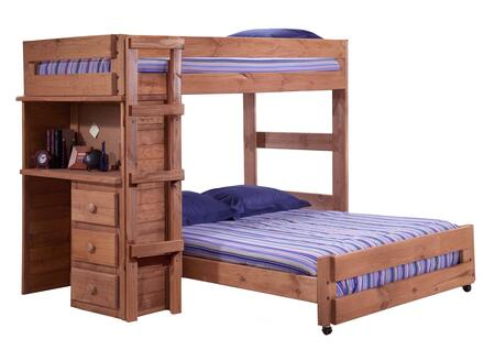 315020 Twin Over Full Loft Bed with Desk End in Mahogany