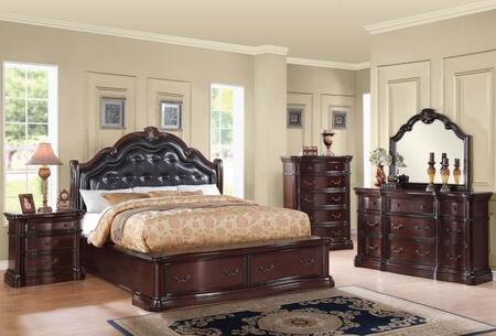Veradisia 20630Q5PC Bedroom Set with Queen Size Bed + Dresser + Mirror + Chest + Nightstand in Dark Cherry