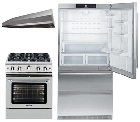 3-Piece Kitchen Package with CS2060 36 inch  Bottom Freezer Refrigerator  MCR304N 30 inch  Freestanding Gas Range  and MAES3010SS600B 30 inch  Under Cabinet Convertible Hood