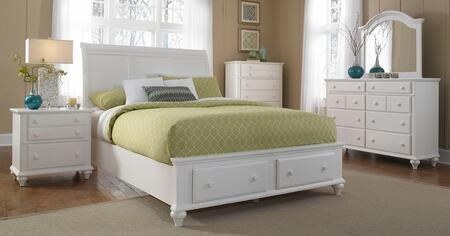 Hayden Place Collection 4 Piece Bedroom Set With California King Size Storage Sleigh Bed + 1 Nightstands + Dresser + Mirror: