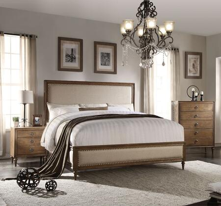 Inverness Collection 26074CK3SET 3 PC Bedroom Set with California King Size Bed  Chest and Nightstand in Reclaimed Oak