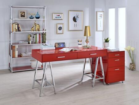 Coleen Collection 3 PC Office Furniture with Desk + File Cabinet + Bookshelf in Red High Gloss and Chrome