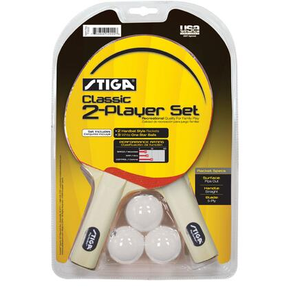 T1332 2 Player Classic Table Tennis Racket Set with Three Stiga White 40mm One-star