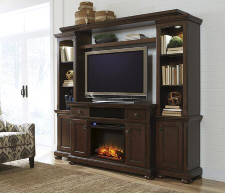 Porter Collection W697120ENTF01 86 inch  5-Piece Entertainment Center with W100-01 Fireplace Insert  TV Stand  Left Pier  Right Pier and Bridge in Rustic