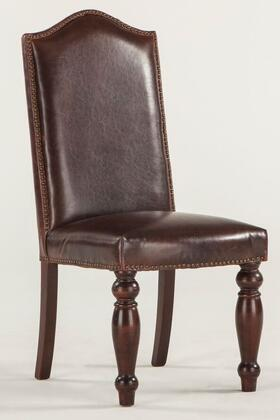 Emilia ZWEI63LDD 20 inch  Dining Chair with Nail Head Trim  Hand-Turned Legs and Leather Upholstery in Dark Distressed Brown