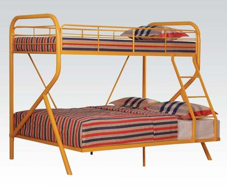 Tracy Collection 37325 Twin Over Full Size Bunk Bed with Right Facing Ladder  Metal Slats  Full-Length Guardrails and R-Shaped Steel Tube Frame in Orange