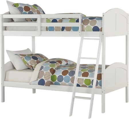 Toshi Collection 37009 Twin Over Twin Size Bunk Bed with Integrated Ladder  Supported Slats  Medium-Density Fiberboard