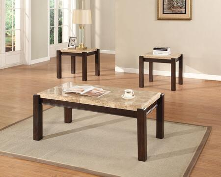 Charissa 80793CE 3 PC Living Room Table Set with Coffee Table + 2 End Tables in Aegean Light Brown