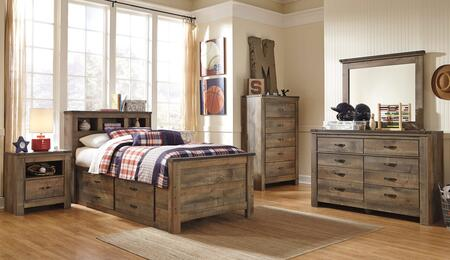 Trinell Twin Bedroom Set with Bookcase Bed with Drawers  Dresser  Mirror and Nightstand in