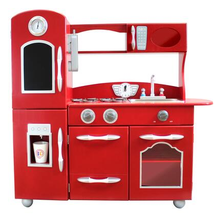 TD11414R Retro Wooden Play Kitchen with Refrigerator  Freezer  Oven and Dishwasher - Red