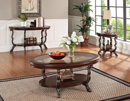 Bavol 80120CES 3 PC Living Room Table Set with Coffee Table + End Table + Sofa Table in Cherry and Brown