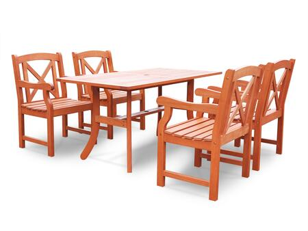 V189SET22 Malibu Eco-friendly 5-Piece Outdoor Hardwood Dining Set with with 1x Rectangle Table (V189) and 4x Armchairs