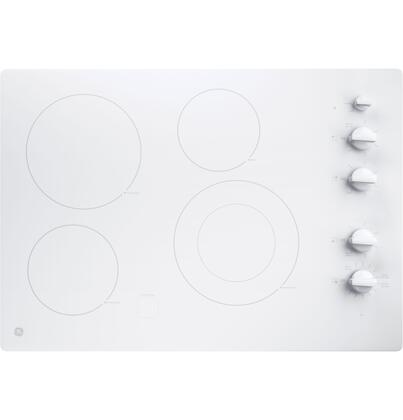 GE JP3530TJWW Profile 30 Built-In Knob Control Electric Cooktop, White
