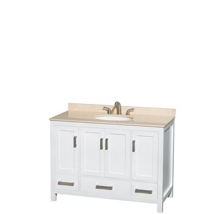 WCS141448SWHIVUNOMXX 48 In. Single Bathroom Vanity In White  Ivory Marble Countertop  Undermount Oval Sink  And No