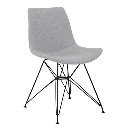 Palmetto Collection LCPLCHBLGR Contemporary Dining Chair in Grey Fabric with Black Metal