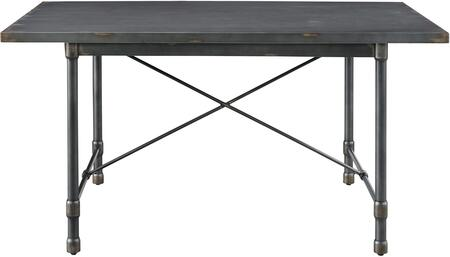 DS-D066 60 inch  Industrial Metal Top Dining Table with Rounded Stretchers  Hand Distressed and Sealed Top in